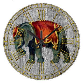 Reloj Redondo Grande Elefante del circo de la apariencia vintage