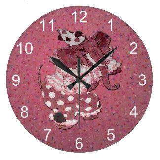 Reloj Redondo Grande Elefante retro rosado del circo