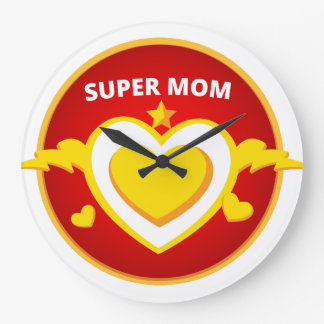 Reloj Redondo Grande Emblema divertido de la mamá del flash del super