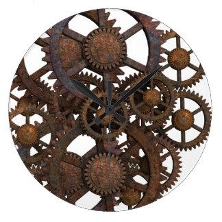 Reloj Redondo Grande Engranajes oxidados del metal de Steampunk