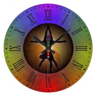 Reloj Redondo Grande Equilibrio colorido de Chakras Yin Yang de la yoga