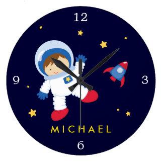 Reloj Redondo Grande Espacio del muchacho del astronauta temático