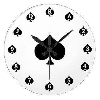 Reloj Redondo Grande Espadas del póker