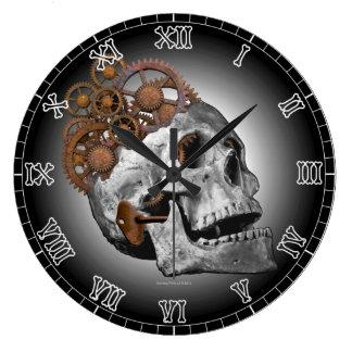 Reloj Redondo Grande Esqueleto de Steampunk de los dientes del cráneo