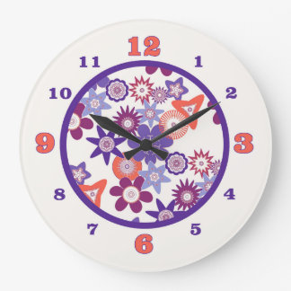 Reloj Redondo Grande Estampado de plores púrpura de la fantasía