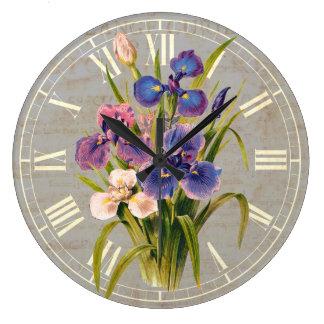Reloj Redondo Grande Estilo antiguo de los iris púrpuras japoneses eleg