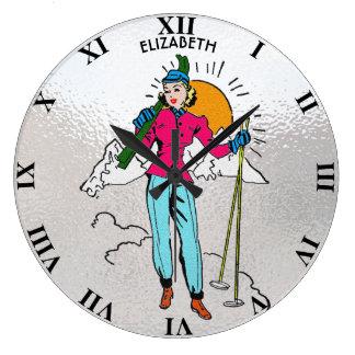 Reloj Redondo Grande Estilo de los tebeos del chica retro del esquí