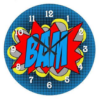 Reloj Redondo Grande ¡Estilo fresco BAM del arte pop del cómic del