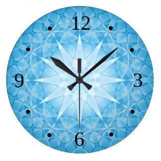 Reloj Redondo Grande Estrella blanca azul
