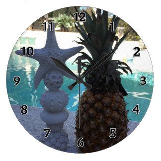 Reloj Redondo Grande Estrellas de mar de la piña