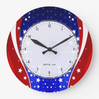 Reloj Redondo Grande Estrellas patrióticas y bandera americana