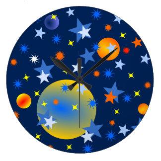 Reloj Redondo Grande Estrellas y planetas celestiales