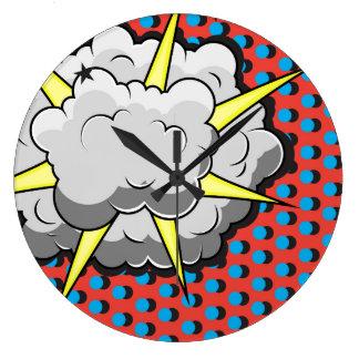 Reloj Redondo Grande Explosión cómica del estilo del arte pop
