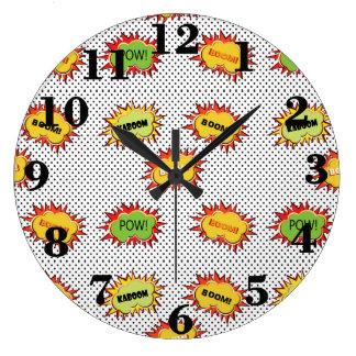 Reloj Redondo Grande explosión del arte pop en polca blanco y negro
