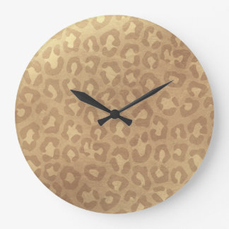 Reloj Redondo Grande Falso leopardo de oro