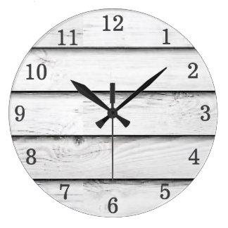 Reloj Redondo Grande Falso personalizable de madera del blanco el | de