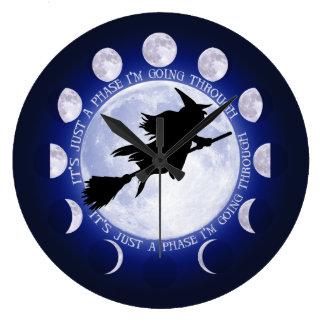 Reloj Redondo Grande Fase de la luna de las brujas