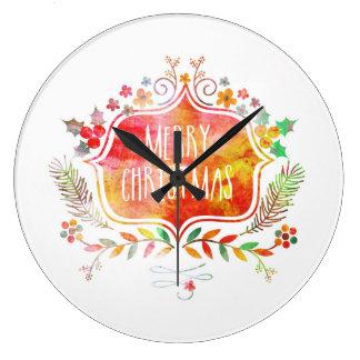 Reloj Redondo Grande Felices Navidad retras de la acuarela