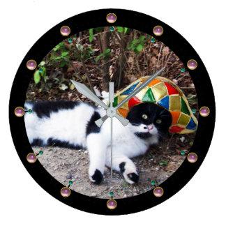 Reloj Redondo Grande Fiesta NEGRO de la mascarada del GORRA del CAT Y