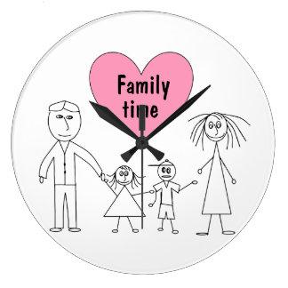 Reloj Redondo Grande Figuras lindas diseño del palillo de la familia