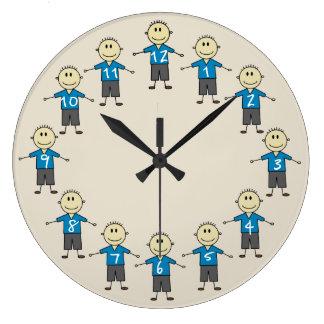 Reloj Redondo Grande Figuras sonrientes felices diversión del palillo