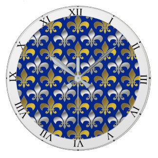 Reloj Redondo Grande Flores de lis de la plata y del oro en fondo azul