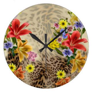 Reloj Redondo Grande Flores y estampado leopardo coloridos