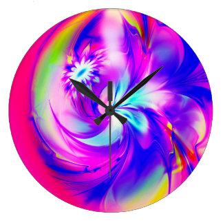 Reloj Redondo Grande Flower And Fucsia♥