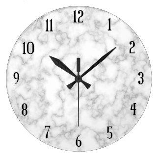 Reloj Redondo Grande Fondo de piedra veteado de mármol del blanco gris