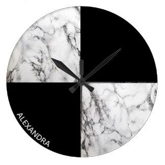 Reloj Redondo Grande Formas geométricas de piedra de mármol cones