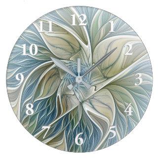 Reloj Redondo Grande Fractal de color caqui azul del extracto ideal