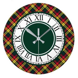 Reloj Redondo Grande Frontera del tartán de Buchanan del clan