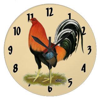 Reloj Redondo Grande Gallo de trigo del gallo de pelea