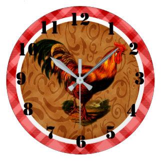 Reloj Redondo Grande Gallo rústico del país adornado