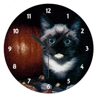 Reloj Redondo Grande Gatito y calabaza para Halloween