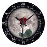 Reloj Redondo Grande Gótico, Vintage, Victoriano, Rosa Roja, Fantasía