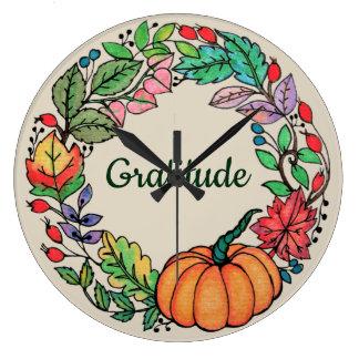Reloj Redondo Grande Guirnalda hermosa de la calabaza de la acuarela