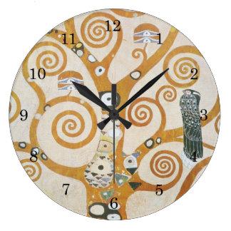 Reloj Redondo Grande Gustavo Klimt el árbol del arte Nouveau de la vida