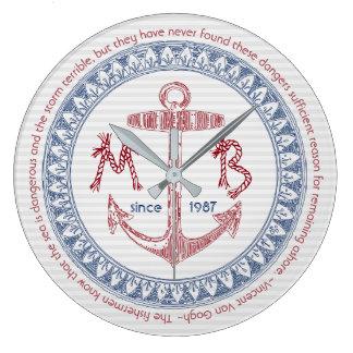 Reloj Redondo Grande Haga su propia ancla del vintage el monograma