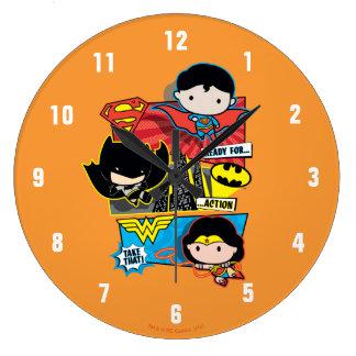 Reloj Redondo Grande ¡Héroes de Chibi listos para la acción!