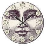 Reloj Redondo Grande Hombre de cosecha en la luna