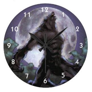 Reloj Redondo Grande Hombre lobo que grita en la luna