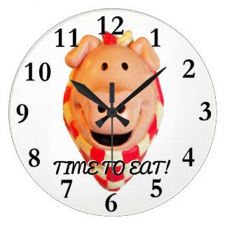 Reloj Redondo Grande Hora de comer, cerdo lindo