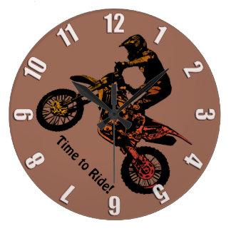 Reloj Redondo Grande ¡Hora de montar! - El competir con del motocrós