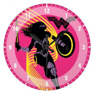 Reloj Redondo Grande Icono de la silueta de la Mujer Maravilla de la