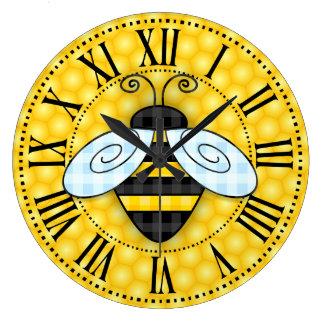 Reloj Redondo Grande Icono de zumbido del abejorro y del panal sin el