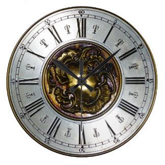 Reloj Redondo Grande Imagen metálica ornamental de los números romanos