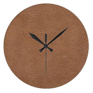 Reloj Redondo Grande Imitación de cuero Brown natural