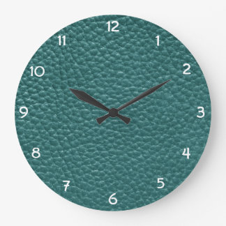 Reloj Redondo Grande Imitación de cuero de la turquesa