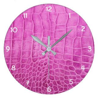 Reloj Redondo Grande Imitación de cuero de las rosas fuertes